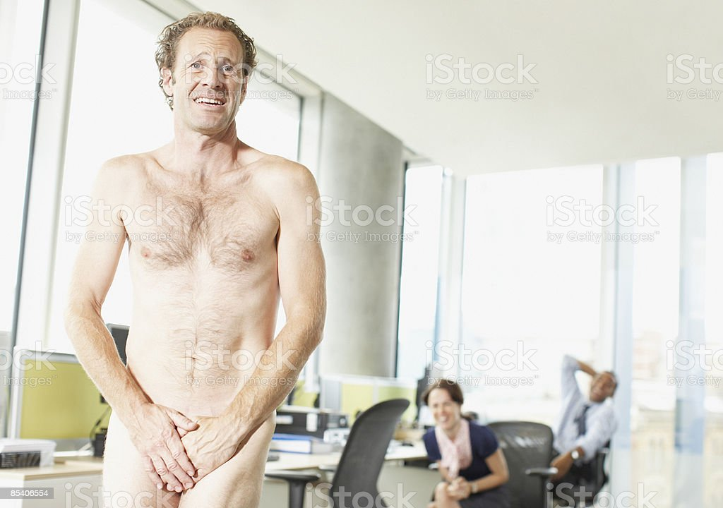 Naked businessman in office royalty-free stock photo
