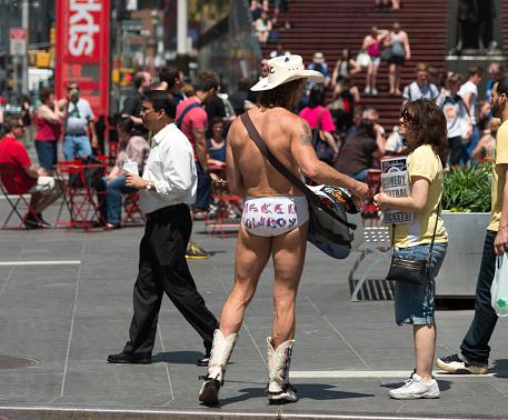 New York City, 12 September 2015: Naked Cowboy Plays