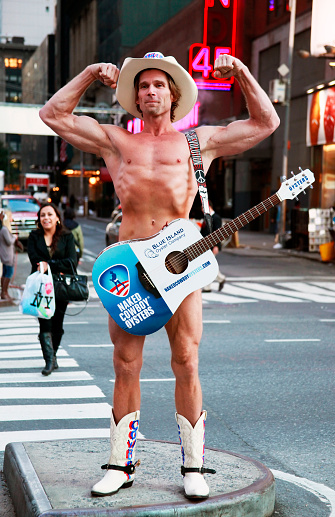 Naked Cowboy Changes Underwear for Fruit of the Loom