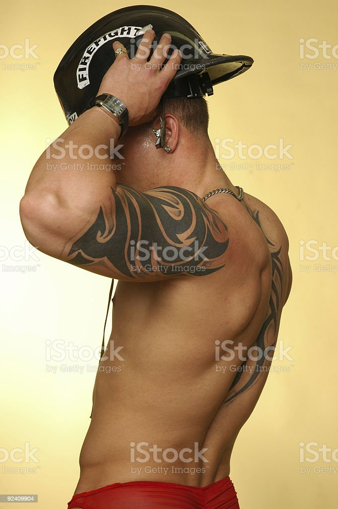 naked firefighter stock photo