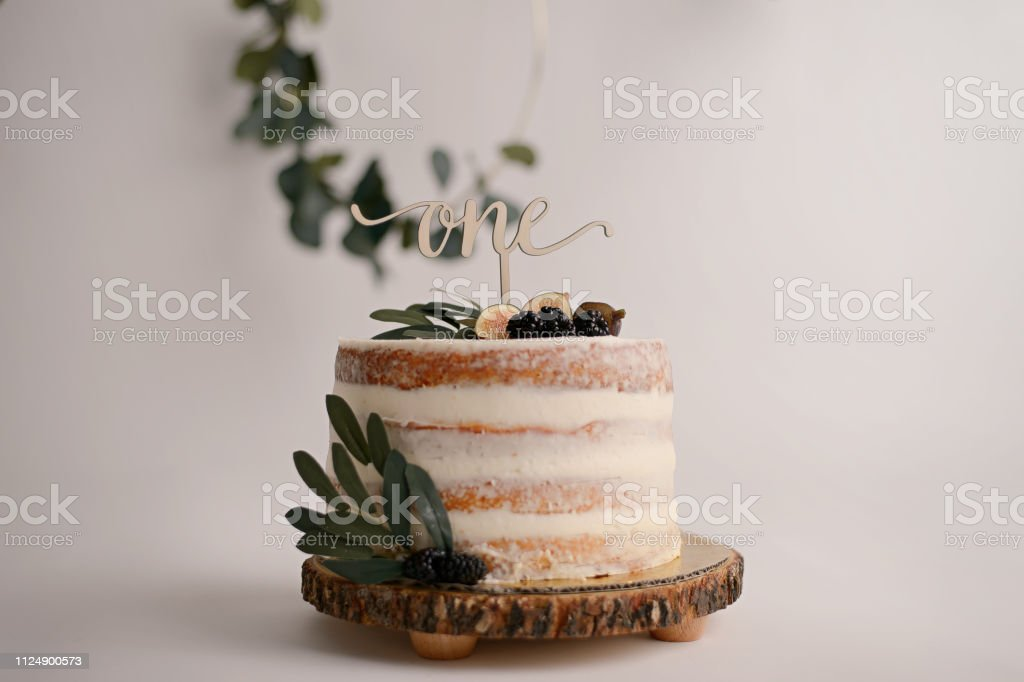 Tremendous Naked First Birthday Cake With Eucalyptus And Berry Decor Stock Funny Birthday Cards Online Alyptdamsfinfo