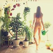 naked gardener girl