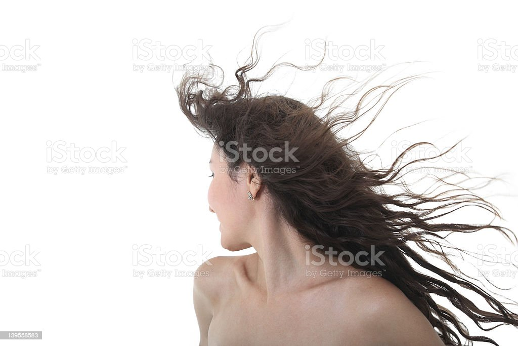 Naked girl with flying hairs stock photo