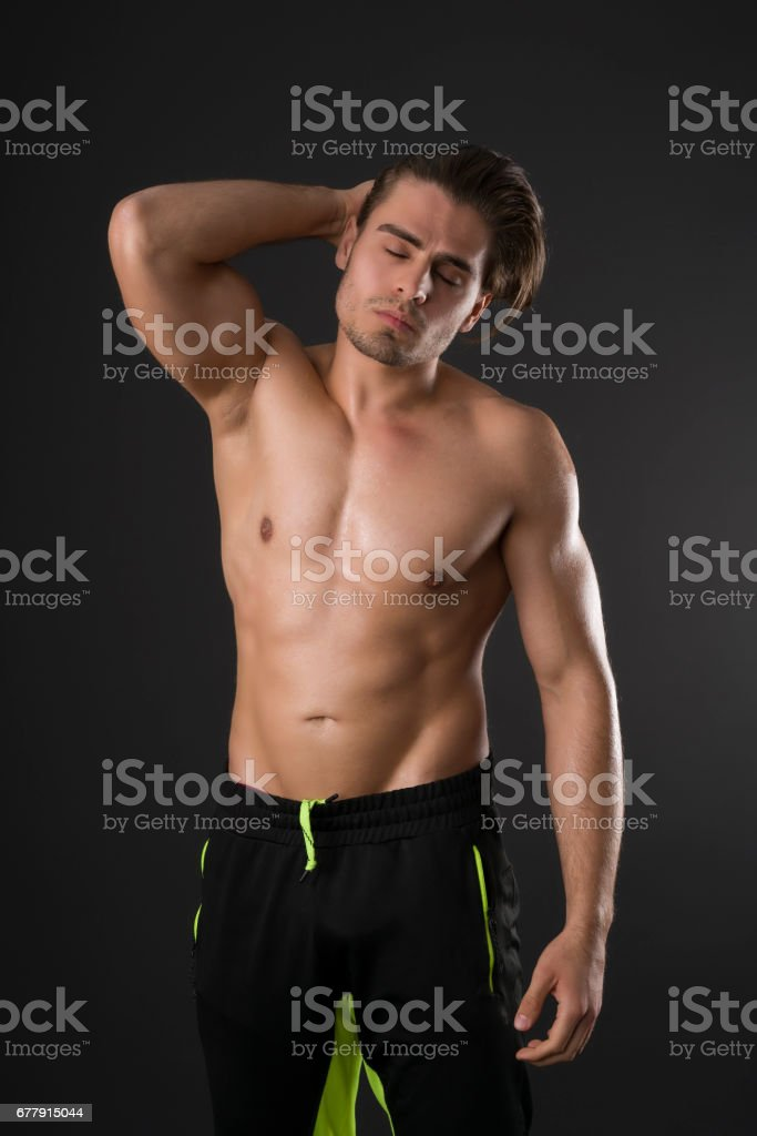 Naked handsome man portrait royalty-free stock photo