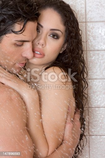 Naked Man And Woman In Love Are Kissing Under Shower Stock -3127