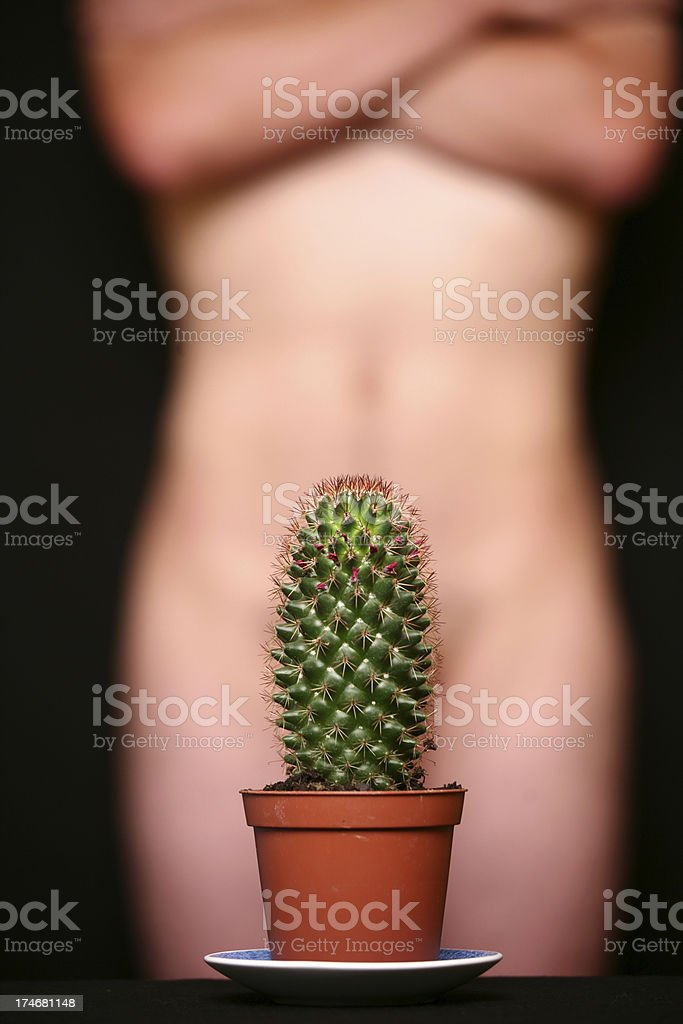 Naked man behind a cactus royalty-free stock photo