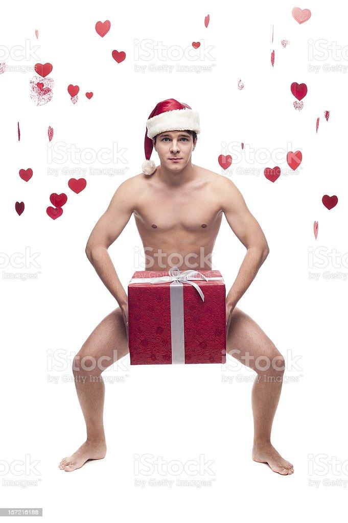 Nackt Mann In Weihnachtsmütze Hält Weihnachtsgeschenk Stock ...