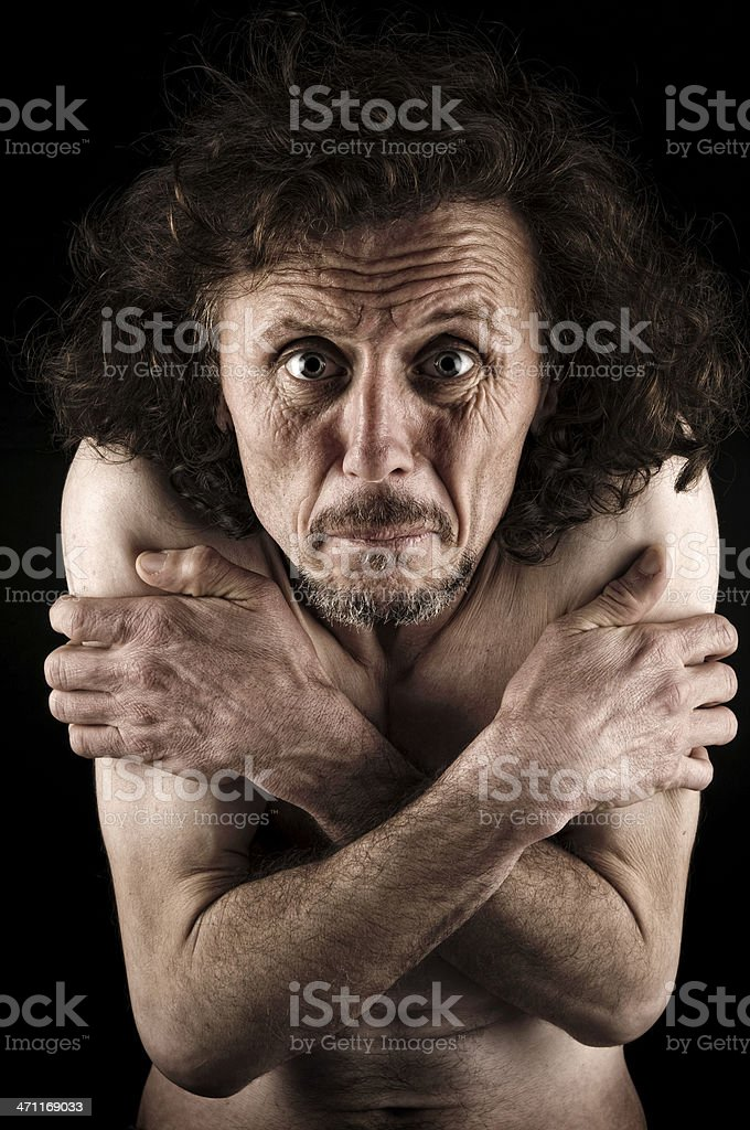 Naked Man Shivering royalty-free stock photo