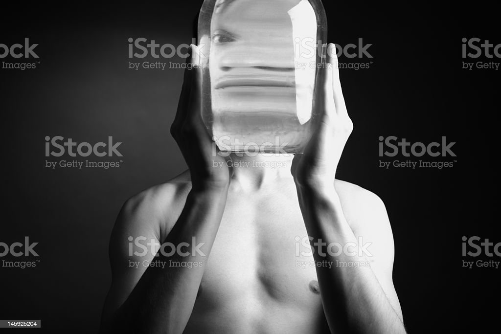 naked man with vase royalty-free stock photo