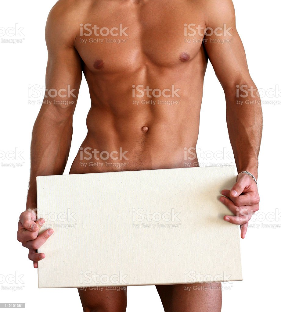 Naked Muscular Man Covering with Box Isolated on White stock photo