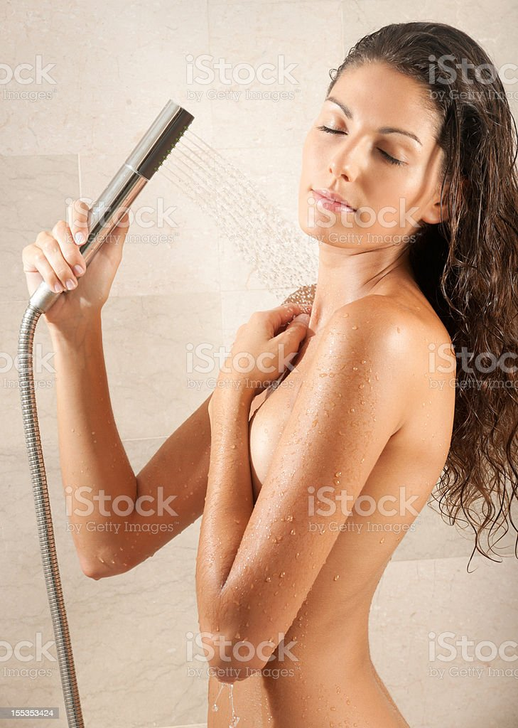 Naked Natural Beautiful Woman Relaxing Under A Hot Shower -4878