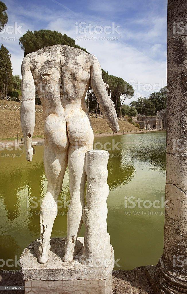 Naked statue at Hadrian's Villa's Canopus royalty-free stock photo