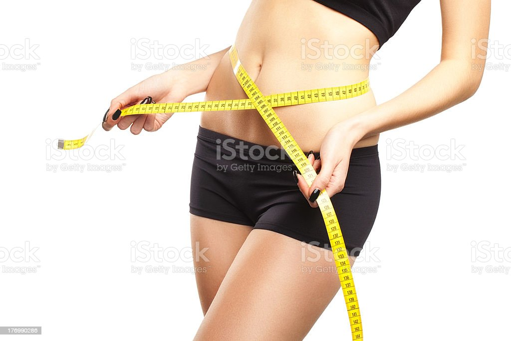Naked Stomach Of Beautiful, Fit, Young Woman Measuring Her Waist stock photo