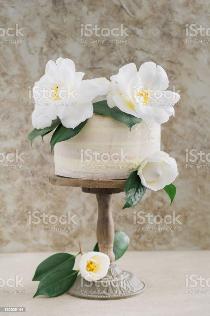 Naked wedding cake stock photo