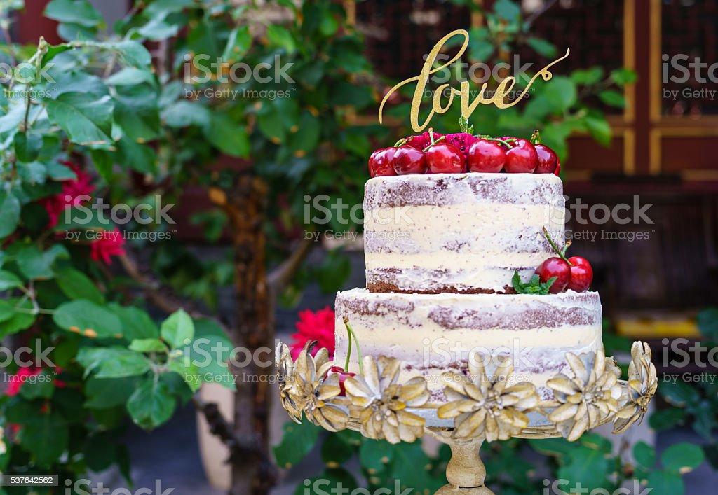 Nackt Hochzeit Blumen Hochzeitstorte Stock Fotografie Und Mehr