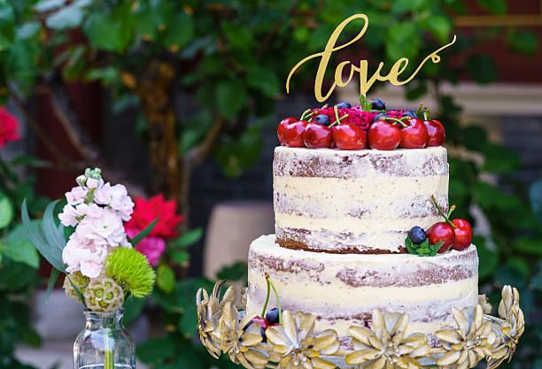 Naked wedding flower cake stock photo