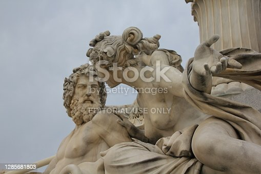 istock Naked Woman And Man Statue In Front Of The Parliament Building, Vienna 1285681803