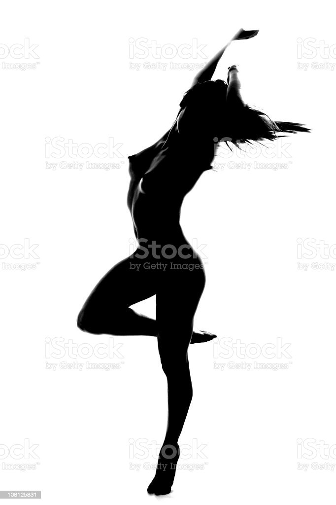 Naked Woman Dancing In Shadows Black And White Stock Photo -9879