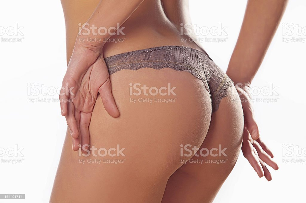 naked woman in a bikini stock photo