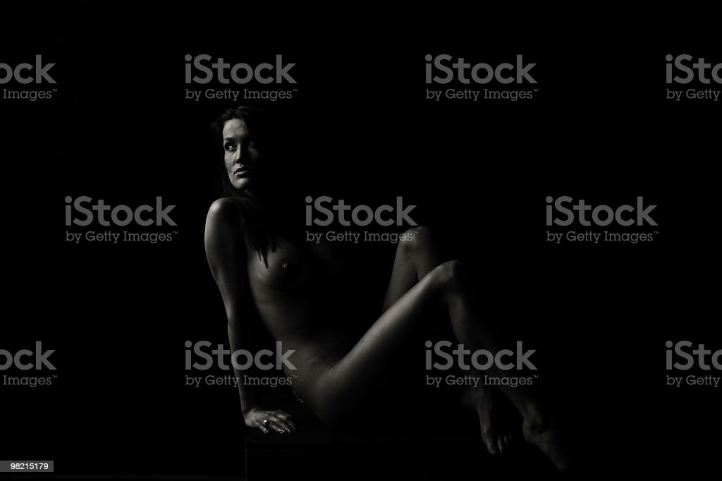 Naked woman, low key royalty-free stock photo