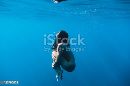 888067280istockphoto Naked woman underwater in tropical ocean 1125795553