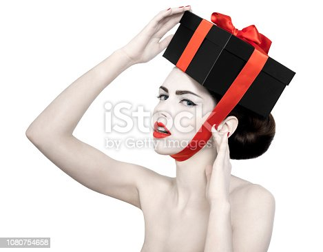 istock naked woman with blue eyes black gift box red ribbon and lips 1080754658