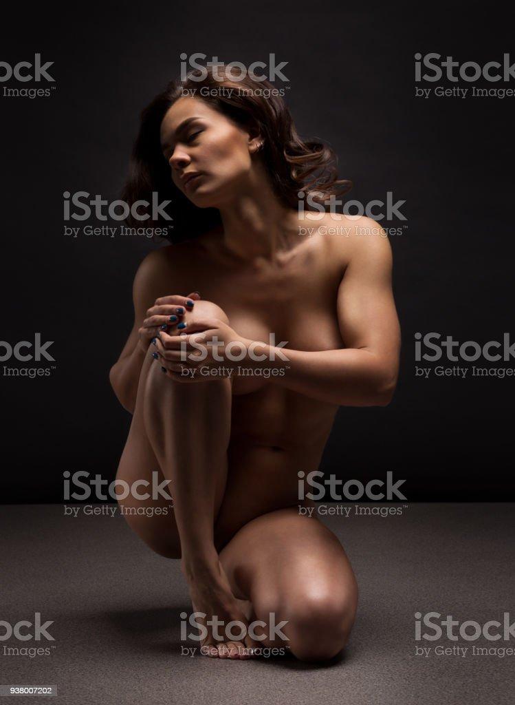 Naked Woman Yoga On Black Background Fine Art Photo Of Female Body