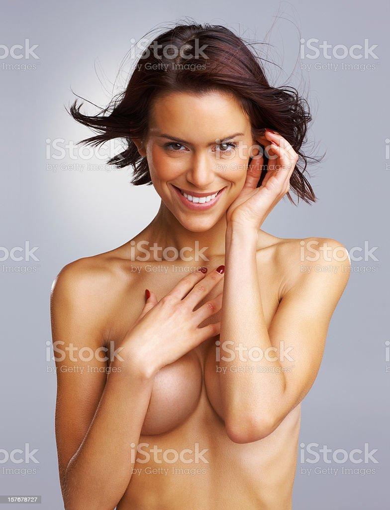 Nackt Junge Frau Die Brust Mit Farbiger Hintergrund Stockfoto Und