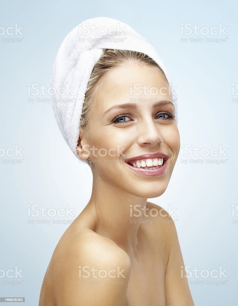 Naked Young Girl After Bath Smiling Against Colored Background Stock Image