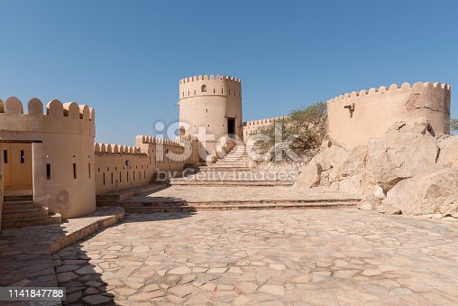 Inner area of Nakhal fort which is located close to Muscat, Oman