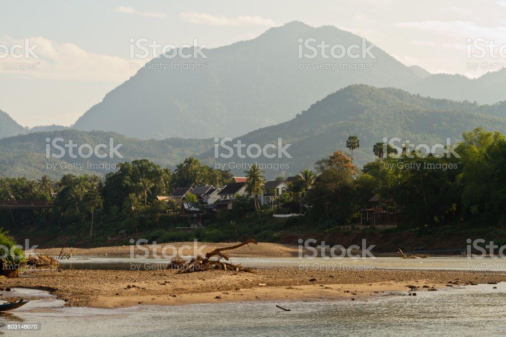 Nam Ou river in Nong Khiaw village stock photo