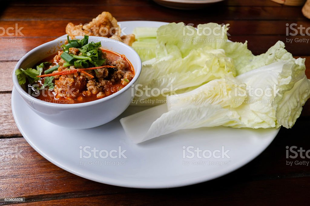 Nam Prik Aong (Northern Thai Meat and Tomato Spicy Dip stock photo