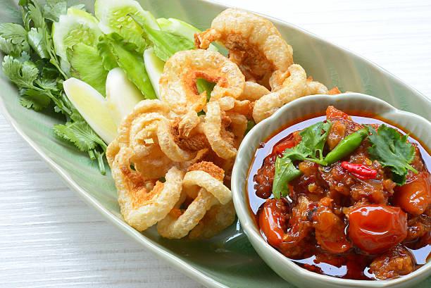 Nam prik ong, Thai northern style chili paste stock photo