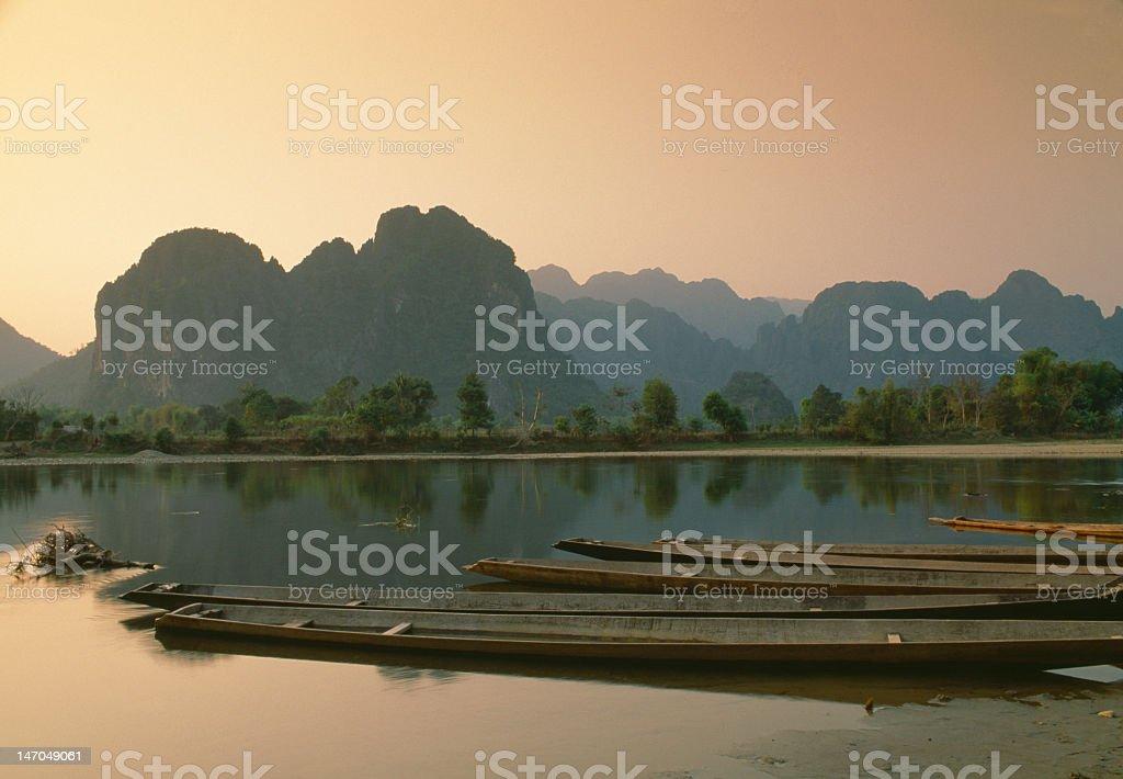 Nam Song river at sunset, Vang Vieng, Laos stock photo