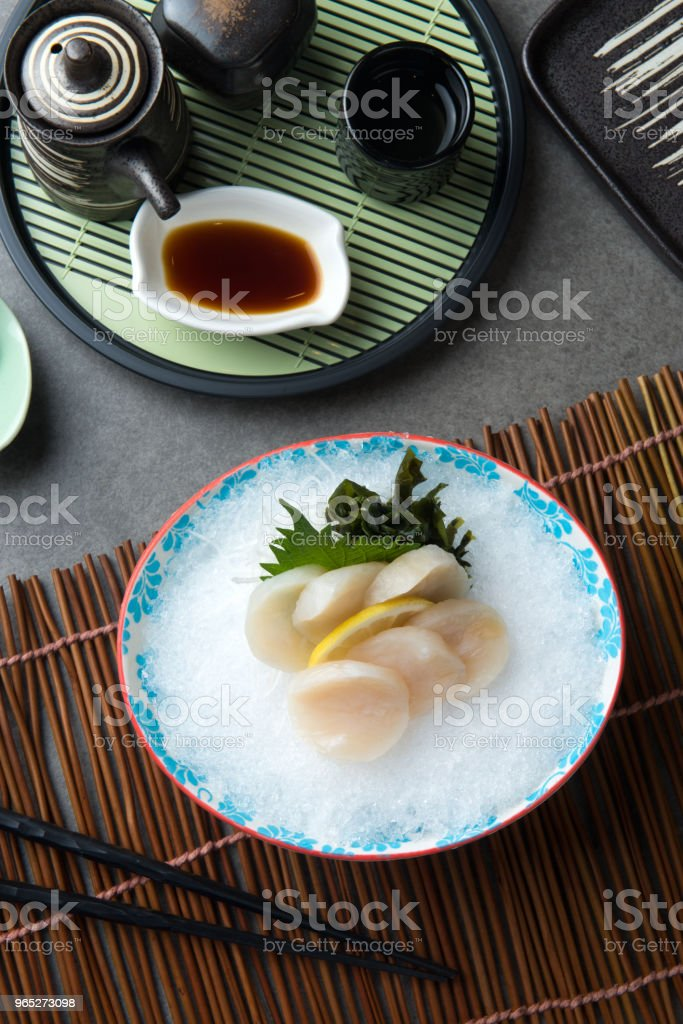 nama hotate fresh scallop shashimi sushi royalty-free stock photo
