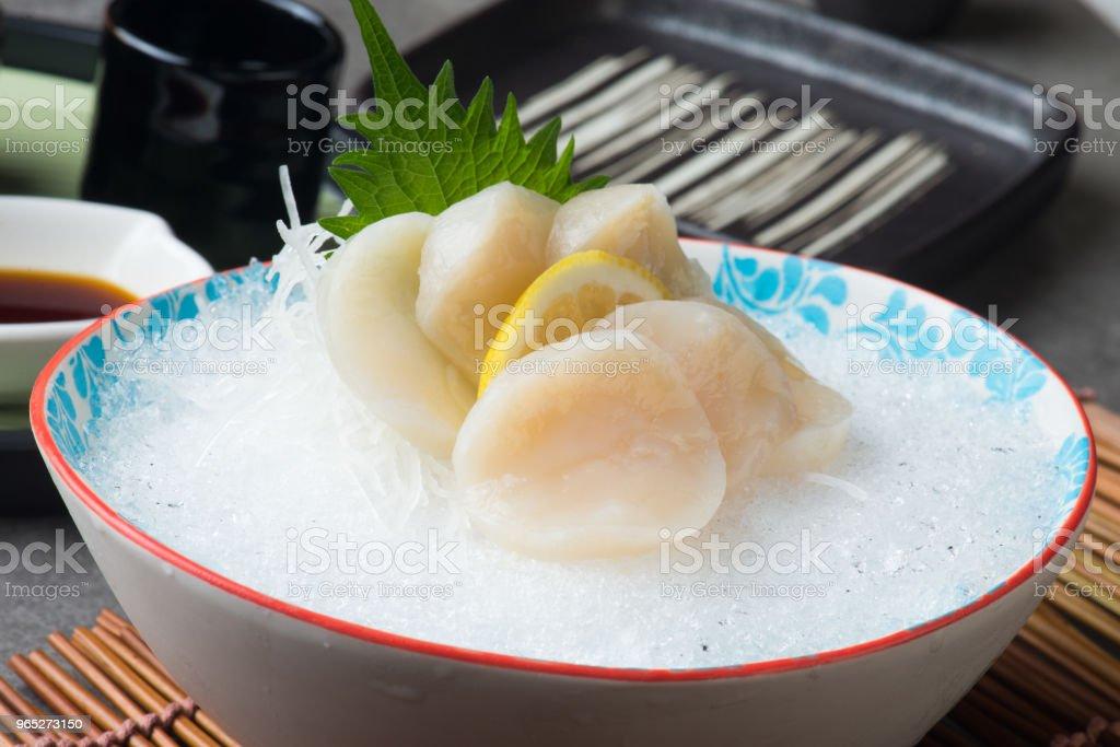 nama hotate fresh scallop shashimi sushi royalty-free stock photo