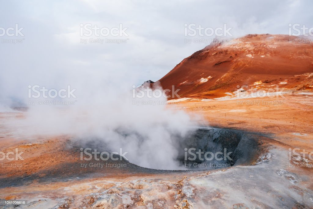 Namafjall - geothermal area in field of Hverir, Iceland stock photo