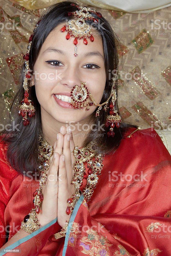 Namaste with a smile royalty-free stock photo