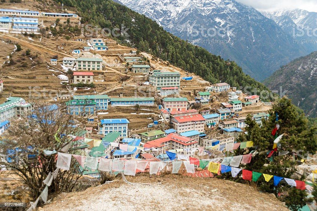 Namche Bazaar sherpa village in Nepal. stock photo