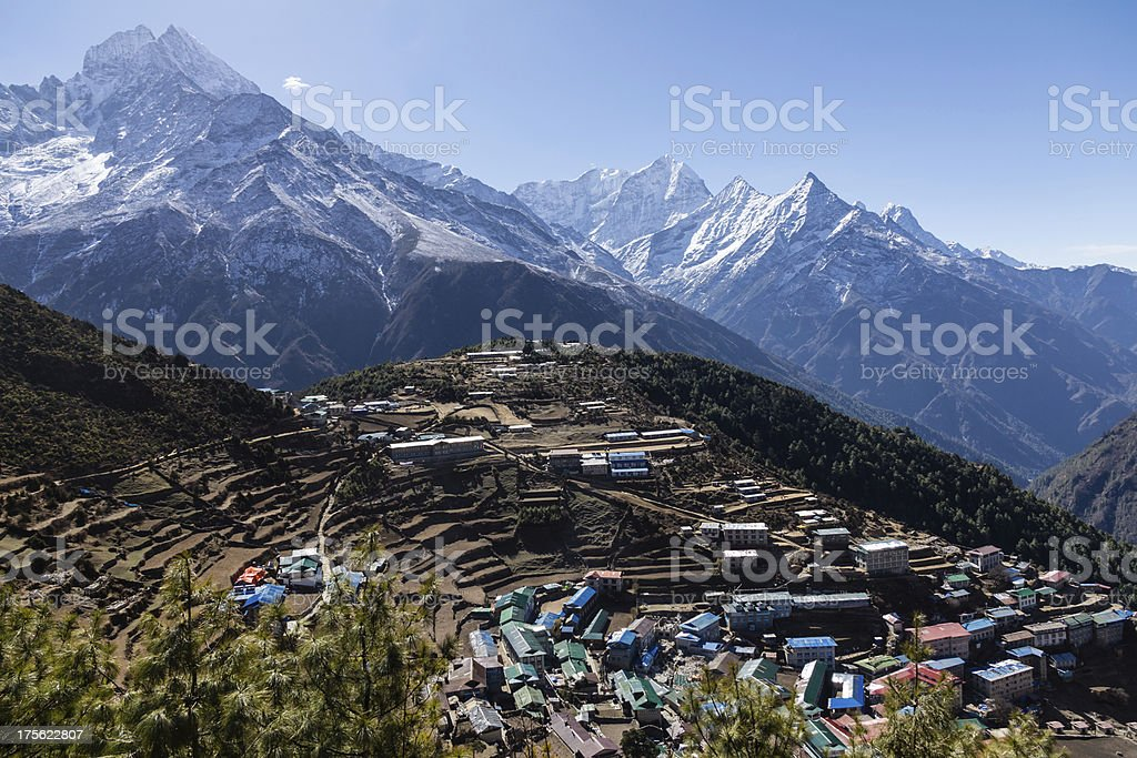 Namche Bazaar surrounded by the snowcapped Himalayas, Nepal royalty-free stock photo