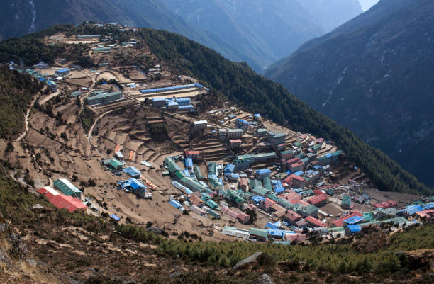 Namche Bazaar view from above in Sagarmatha, Nepal Himalayas stock photo