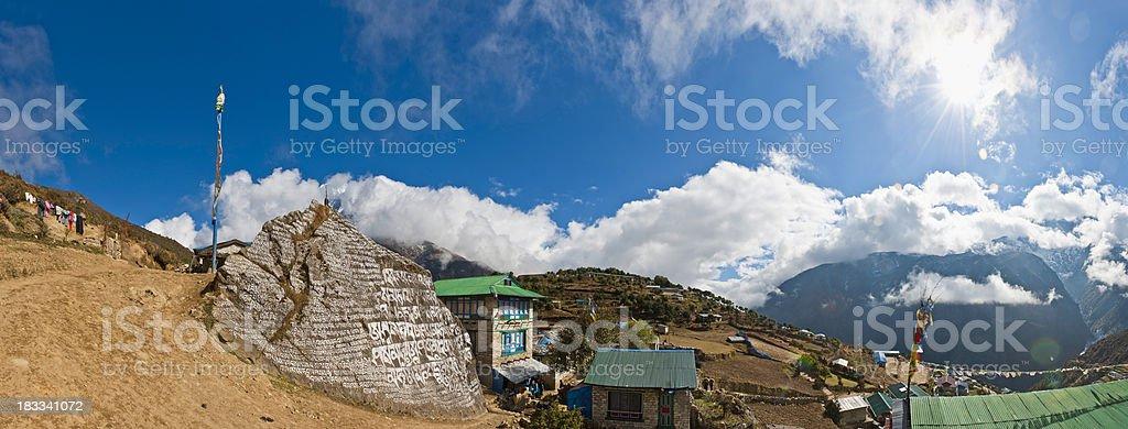 Namche Bazar sherpa mountain village mani stone panorama Himalayas Nepal royalty-free stock photo