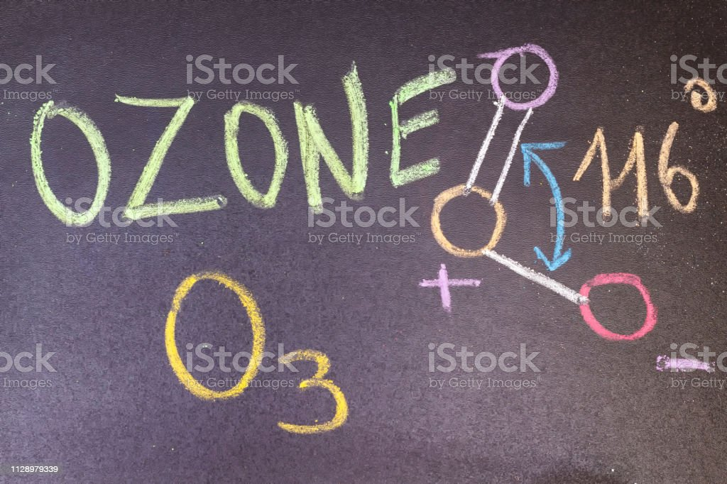 name, chemical formula and structure diagram of Ozone handwritten on...
