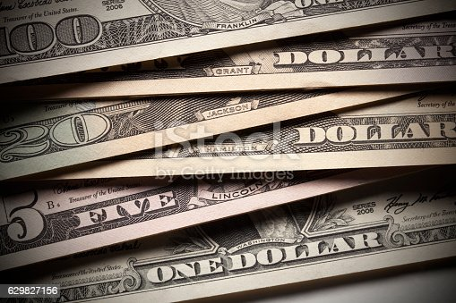 istock Name of the presidents of united America on dollar banknotes 629827156
