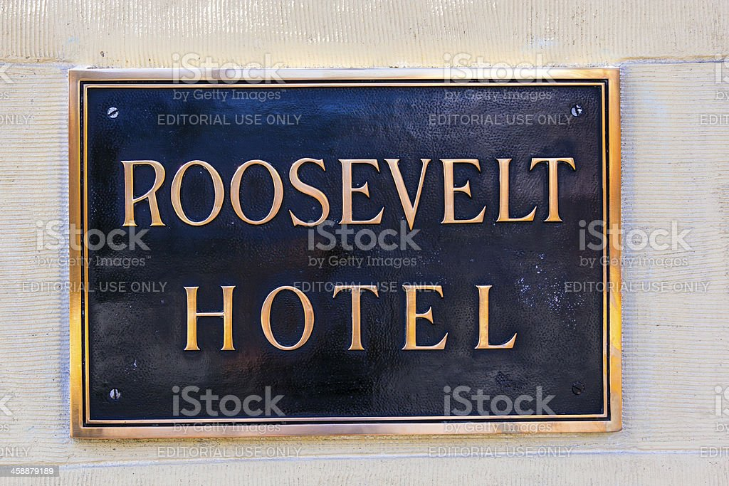 Name plate at the facade of  Roosevelt Hotel in Hollywood stock photo