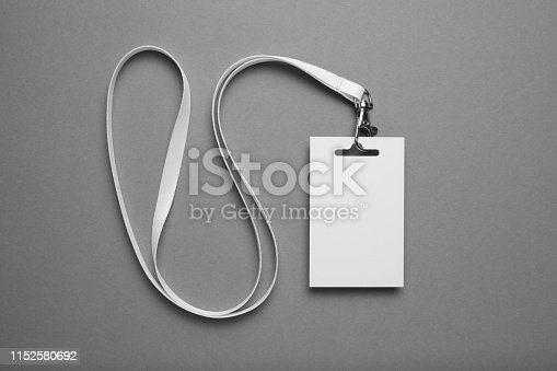 istock VIP name tag, event visitor card on lanyard. Business conference pass mockup on grey background 1152580692