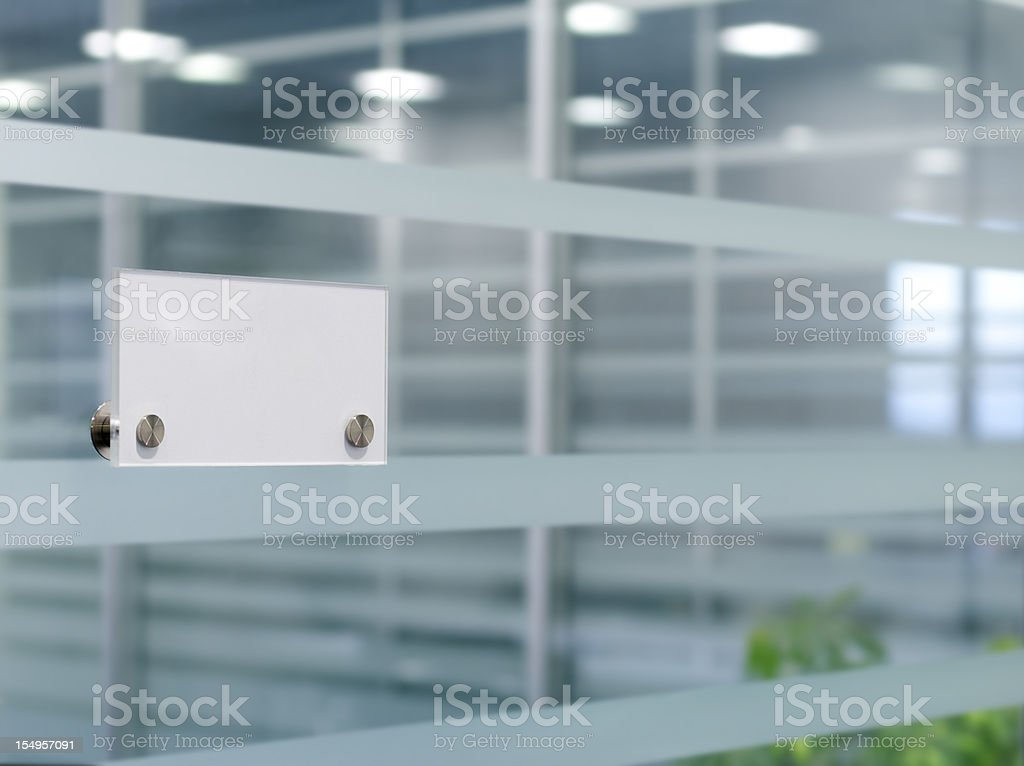 Name tag on cubicle stock photo