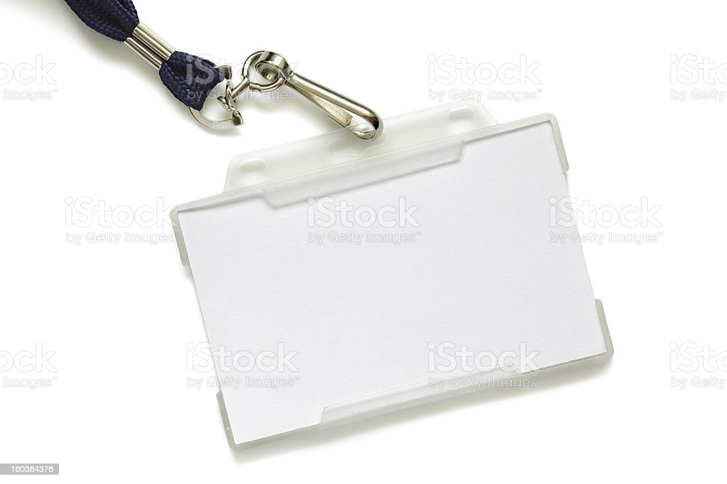 Name tag on lanyard stock photo