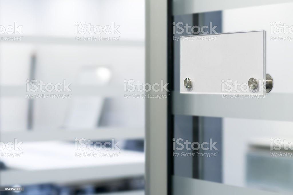 Name tag on office door stock photo