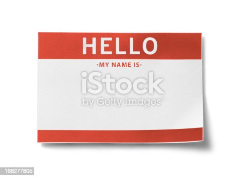 Red name badge with the words,